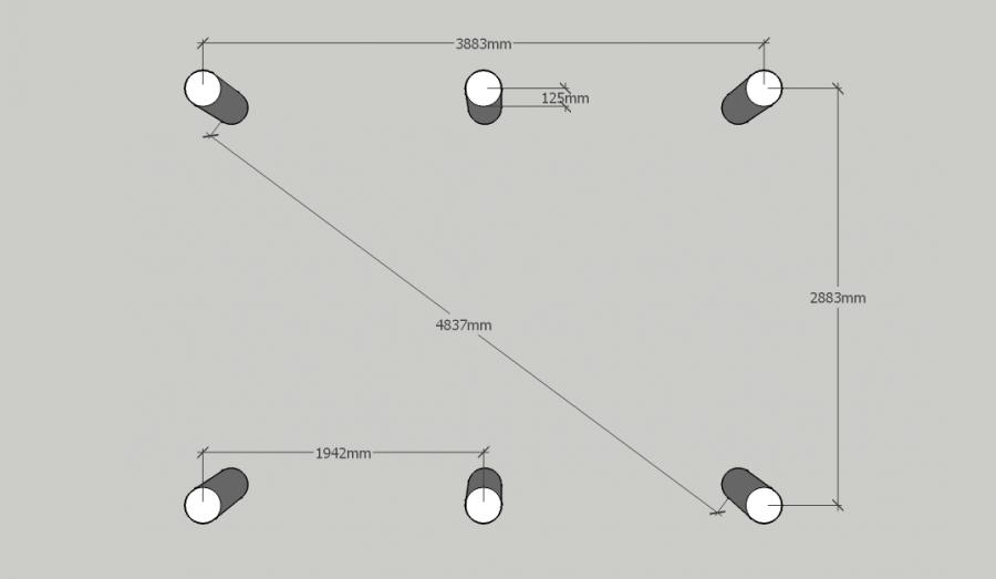 Чертеж свайного поля фундамента для бытовки 3 на 4