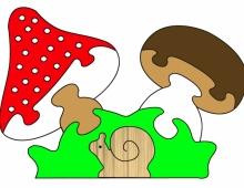 Пазл грибная полянка  улиткой  - схема для выпиливания
