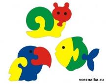 Пазлы: улитка, птица, рыбка - схема для выпиливания