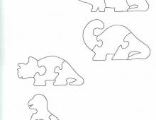 Пазлы Динозавры - схема для выпиливания