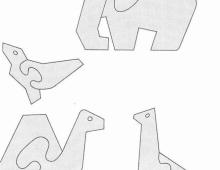 Простые пазлы: слон, птица, верблюд, жираф  - схема для выпиливания