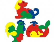 Пазлы: собака, петух, кит - схема для выпиливания