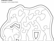 Пазл слониха со слоненком в коробочке  - схема для выпиливания