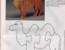 Пазл верблюд - схема для выпиливания