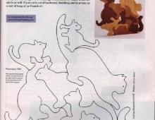 Пазл кошки - схема для выпиливания