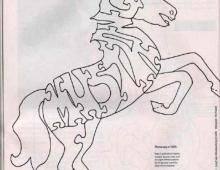 Лошадь пазл  - схема для выпиливания