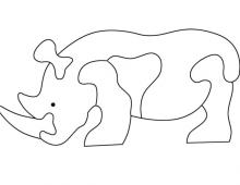 Пазл носорог - схема для выпиливания