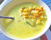 Овощной суп на сливках