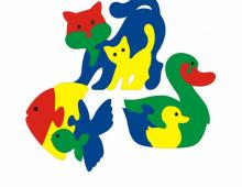 Пазлы: кошка, рыбка, утка  - схема для выпиливания