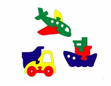 Пазлы: самолет, рузовик, кораблик  - схема для выпиливания