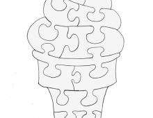 Пазл мороженное  - схема для выпиливания