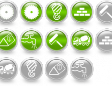Набор зеленых иконок для сайта строительной тематики