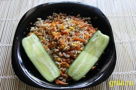 Рис с чечевицей и кукурузой в аэрогриле